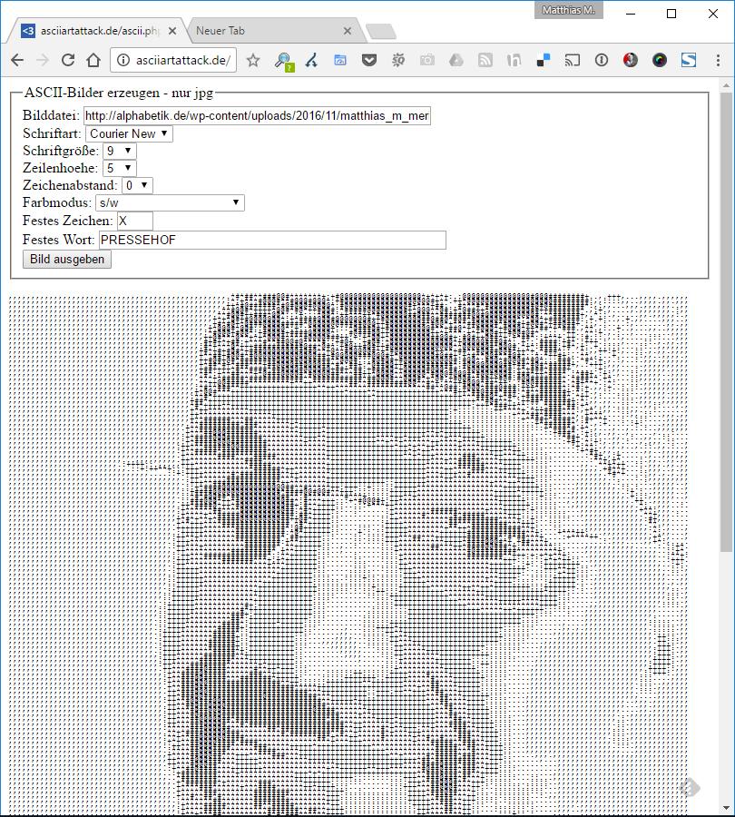 Screenshot ASCII-Bildgenerator von 2008