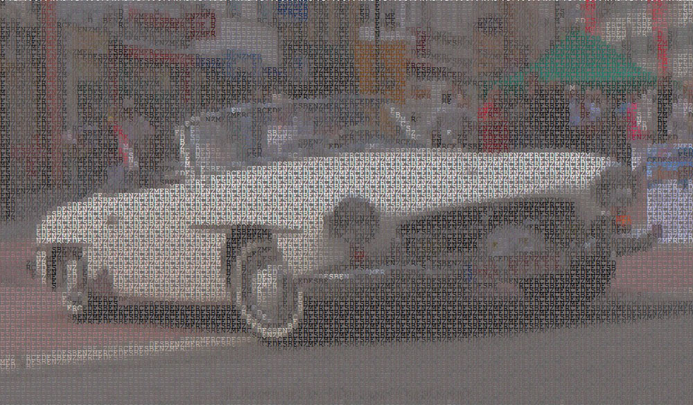 Merdec-Benz 190sl as ASCII image