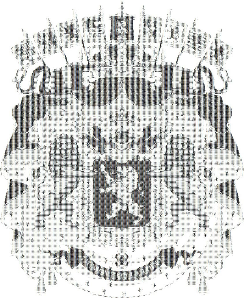 Das Wappen Belgiens als ASCII-Bild